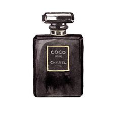 Chanel Coco Noir Watercolor Illustration by LadyGatsbyLuxePaper, $10.00  | georgieguide.com