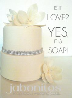 CP shea butter soap wedding cake, decorated with rhinestones and paper flowers