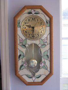 Stained glass pendulum clock