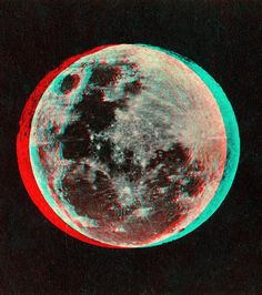 "ANAGLYPH, conversion of original card stereoview in my collection.   The Moon.  Published by Joseph L. Bates""  This image views in 3D when wearing RED/CYAN 3D glasses.  More images of this type can be found by searching ""anaglyph""   One of the things that impressed me with the original stereoview that this image was made from is the strong tonal quality it has compared to other issues of it.  In trying to maintain this quality in the anaglyph I decided to live with the ghosting.    The…"