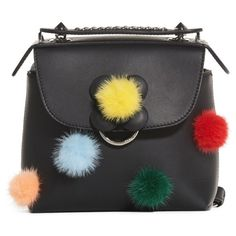 Women's Fendi Mini Back To School Genuine Mink Fur Pompom Leather... ($2,150) ❤ liked on Polyvore featuring bags, handbags, shoulder bags, black multi, leather crossbody purse, fendi backpack, mini crossbody, crossbody purses and backpack purse