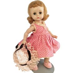 Alexander-kins BKW~  pink dot dress Tagged Pink Dot, Madame Alexander Dolls, Doll Houses, Dot Dress, Vintage Dolls, Baby Dolls, Vogue, Plastic, American