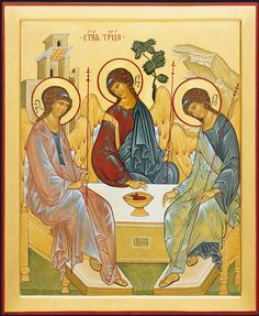 Icon of Holy Trinity is made using semiprecious stones and gold leaf. An opening icon case is included in the price of icon Religious Icons, Religious Art, Abraham And Sarah, Paint Icon, Russian Icons, Byzantine Icons, Guardian Angels, Orthodox Icons, Sacred Art