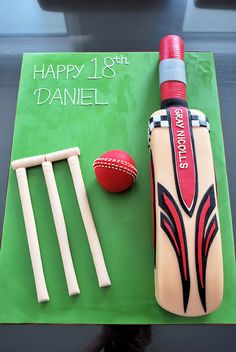 Gray Nicolls Cricket Bat Cake Cricket Birthday Cake, Cricket Theme Cake, 14th Birthday Cakes, Bithday Cake, Man Birthday, 11th Birthday, Birthday Ideas, Birthday Parties, Cake Design For Men