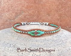 Turquoise Silver Beaded Leather Wrap Bracelet or Anklet - The Skinny Mini in Turquoise 'n Coral - Custom Size It!