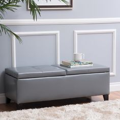 17 inches high x 45.25 inches wide x 19 inches deep SMALL ottomon Knight Home Alfred Faux Leather Small Storage Ottoman Bench