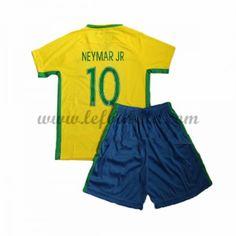 Brasilien Børn Fodboldsæt 2016 Neymar JR 10 Kortærmet Hjemme Fodboldtrøjer