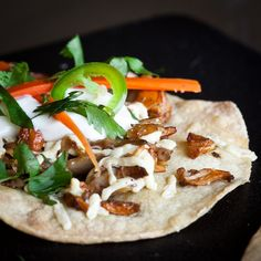 Vegan: wild mushroom tostadas with lime creme fraiche...