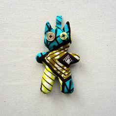 Porte-clés chat wax motif africain turquoise et jaune (envoi 0€)