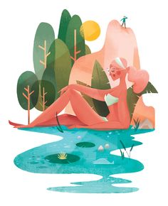 Summer Sketch on Behance Flat Design Illustration, People Illustration, Landscape Illustration, Character Illustration, Digital Illustration, Graphic Illustration, Design Graphique, A4 Poster, Illustrations And Posters