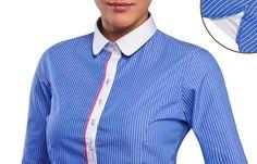 Blue Women Shirt Financial White Stripes  $89.90 Women's Fashion