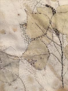 textile ⋒ marvelous detail of wall hanging by Rebecca Yeomans Thread Painting, Fabric Painting, Fabric Art, Textiles, Embroidery Stitches, Hand Embroidery, Tea Art, Textile Artists, Collage