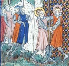 Men in surcotes that I interpret as clearly having border decoration of a simple variety (it's a miniature after all).  Manuscript:  BL Egerton 745 Life of Eustace and Other Saints, Folio  6 Dating1300-1325 from Paris, France Holding Institution: British Library