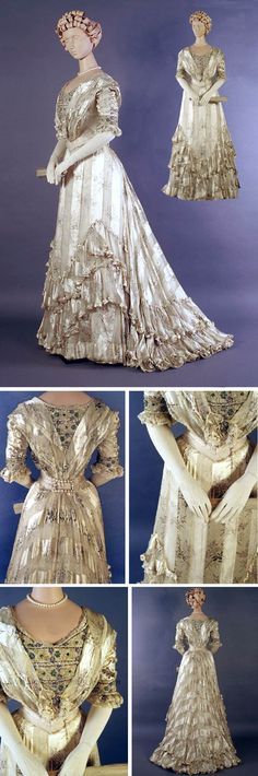 Evening dress, Knight & Lee, London, ca. 1900-05. White silk chiffon with satin stripe, printed lilacs. Bodice has wide neck and inset with V of net trimmed with sequins in small floral design. 3/4 sleeves with band of sequined net. Flat collar trimmed with lace meeting at waist. Chiffon skirt with swagged chiffon ruffles. Kent State Univ. Museum and KSU Museum Pinterest