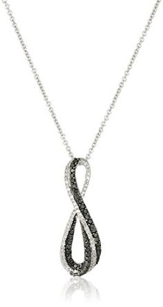 Sterling Silver Black and White Diamond Infinity Pendant Necklace cttw), - Jewelry World Today Black Diamond Necklace, Diamond Cross Necklaces, Diamond Pendant, Diamond Gemstone, Jewelry Trends 2018, Latest Jewellery Trends, Infinity Pendant, Infinity Necklace, Earring Trends