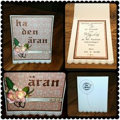 "Scrapbooking. Ett födelsedagskort beställt till två födelsedagsbarn. De fyller 90 och 85 år.     One birthdaycard order for two birthday kids turning 90 and 85 years young!   Letters on the front Tim holtz ""Once upon a time"", embossed with brown detail Reprint powder.  Lace on the bottom done with MS punch. Distress Tim Holtz walnut stain.  CS Reprint /Paper Accents and Bazzill.  DP Trousseau collection  always ""7 gypsies"". Charm and other decoration.  Made by Kirsi Arvidsson"