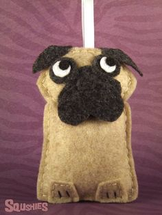 Felt Christmas Ornament, Felt Dog Ornament- Peaches the Pug