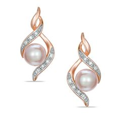I've tagged a product on Zales: 6.0 - 6.5mm Pink Cultured Freshwater Pearl and Diamond Accent Earrings in 10K Rose Gold