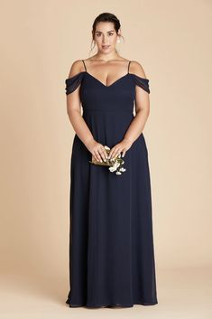 Devin Plus Size Convertible Chiffon Bridesmaid Dress in Navy – Birdy Grey