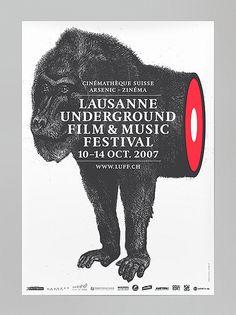 Underground Film and Music Festival gig poster Graphic Design Posters, Graphic Design Typography, Graphic Design Inspiration, Graphic Prints, Poster Prints, Gig Poster, Lausanne, Underground Film, Film Festival Poster
