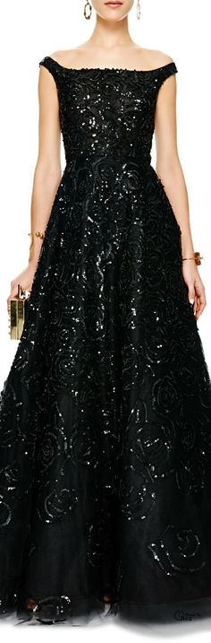 Oscar de la Renta ● Sequined Off-the-Shoulder Tulle Gowns via: