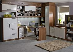 esprit white home office with practical cupboard and drawer space and adjustable lighting home betta living home office