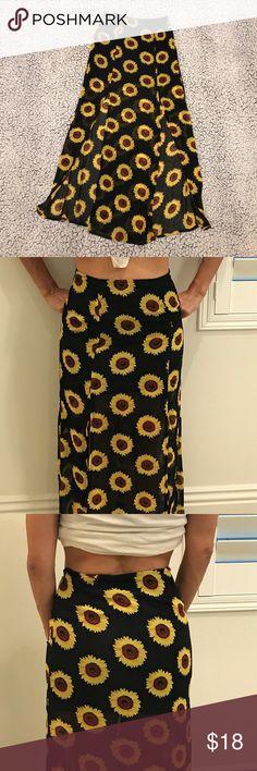 Sheer leg slit skirt Black and daisy side slits La Hearts Skirts Maxi