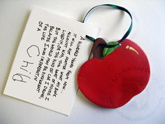 OOAK  Apple Paperclay Ornament by ajsarts on Etsy, $10.00