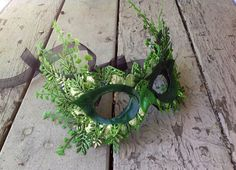 Elegant Spring Green Poison Ivy Fern Masquerade Mask