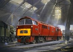 'Western Lady' bathes steam & diesel smoke and sunlight as she waits to leave the confines of Old Oak Common, engine shed during - Philip D Hawkins Train Posters, Railway Posters, Duesenberg Car, Uk Rail, Train Drawing, Nostalgic Art, Holland, Train Art, Train Pictures