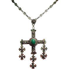 Vintage Mexico Sterling Yalalag Wedding Cross Pendant Necklace