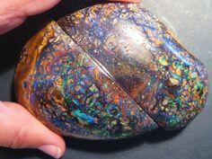 On sale now - short time only :)Brilliant Rare Australian Queensland Boulder Opal Split Specimen Pair Minerals And Gemstones, Crystals Minerals, Rocks And Minerals, Raw Opal, Opal Gemstone, Matrix Opal, Mineralogy, Rocks And Gems, Australian Opal