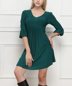 Look what I found on #zulily! Teal Pleated Bell-Sleeve Dress - Women #zulilyfinds