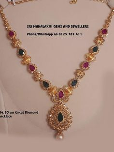 Stunning gold necklace with lakshmi devi kasu hangings. Necklace studded with multi precious stones. They make on orders also in minimum time get best finishing at wholesale prices. Visit or call on 8125 782 411 for orders. 24. August, Gold Jewelry Simple, Gold Jewellery Design, Necklace Designs, Choker Necklaces, Diamond Necklaces, Gold Necklace, Mango Necklace, Diamond Jewellery