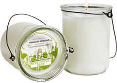 We love these Eucalyptus Mint Mosquito Repellent Hanging Candle 7oz. They are perfect to sit on the table or to hang along the bannister surrounding your porch.