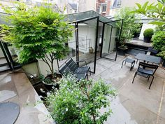 Terrasse d'un appartement Place des Victoires. What container gardens can do.