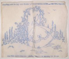 Vintage embroidery transfer - Crinoline Lady with parasol & rose trellis arch