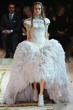 #Ostrich #feather #dress by Sarah Burton on the catwalk.