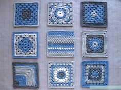 The blocked blue #crochet squares