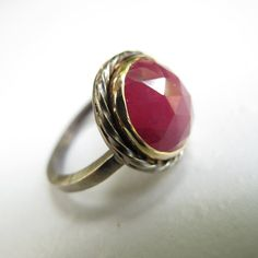 Rose Cut Ruby Ring  Sterling Silver and 18k Yellow Gold by erga