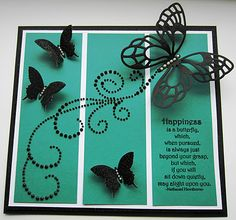 Butterfly card - love the black and teal color combo - bjl