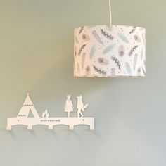 kinderlamp wit, taupe, mint & grijs