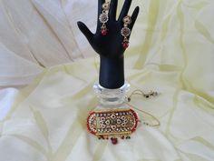 Choker chain from India. Wedding necklace & ear rings jewelry. Handmade party wear jewelry. Artikrti.