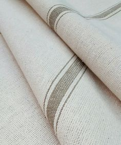 Grain Sack Fabric By The Yard - Farmhouse Fabric - Ticking Fabric - Tan 3 Stripe - Beige Fabric - Wide - Upholstery Weight Farmhouse Style Curtains, Farmhouse Fabric, Coastal Farmhouse, Farmhouse Furniture, Relaxed Roman Shade, Style Français, Sweet Annie, Ticking Fabric, Tablecloth Fabric