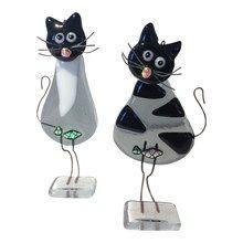 Glasfigurer - katte i glas i sort og grå farver, sæt