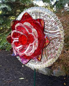 Repurposed Glass Flower Sun Catcher 'SERENA' ................................ by theglasslotus (Etsy)