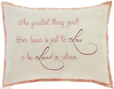 """Soft Pink Cotton Chambray Love Stenciled Throw Pillow 14"""" x 18"""" - Genevieve #VictorianHeart #FrenchCountry"""