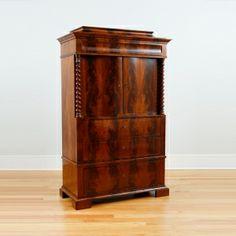 Antique Danish Christian VIII / Biedermeier Liquor / Silver Cabinet in Cuban Mahogany with serpentine doors and book matched figured mahogany, c.1840