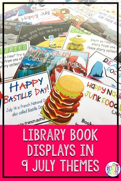 This poster set for libraries contains 19 full-color posters with read-alike bookmarks in nine July themes. They're an easy way to create fast, beautiful book displays. Book Displays, Library Displays, Color Posters, Library Signs, Teacher Librarian, Summer Reading Program, Parent Communication, Summer Books, Summer Activities