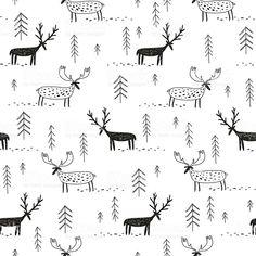 벡터 손 드로잉 패턴-deers 무스, 나무 royalty-free 일러스트